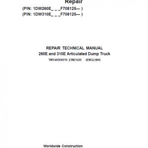 John Deere 260E, 310E Articulated Dump Truck Service Manual (S.N. F708125 - )