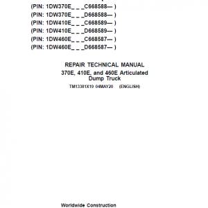 John Deere 370E, 410E, 460E Dump Truck Service Manual (S.N. after C634583 & D668586 - )
