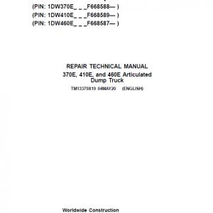 John Deere 370E, 410E, 460E Dump Truck Service Manual (S.N. F634583 - F668586 )