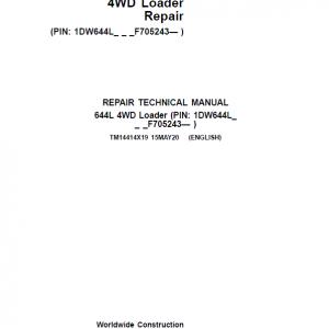 John Deere 644L 4WD Loader Repair Service Manual (S.N F705243 - )