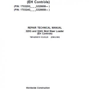 John Deere 320G, 324G SkidSteer Loader Service Manual (EH Controls - S.N after G328658 )