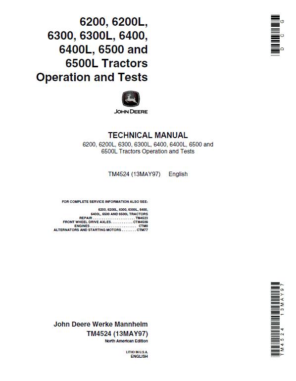 John Deere 6400, 6400L, 6500, 6500L Tractor Repair Manual
