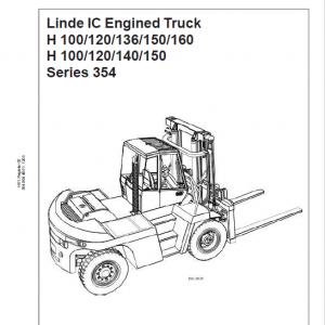 Linde 354 Forklift Truck : H100, H120, H136, H150, H160 Service Training Manual