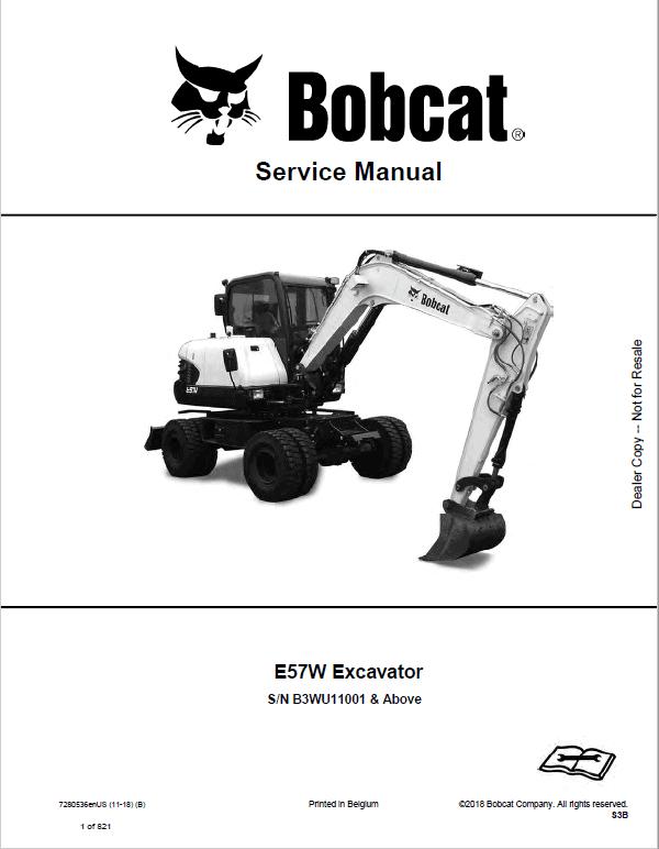 Bobcat E57W Excavator Repair Service Manual