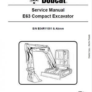 Bobcat E63 Excavator Repair Service Manual