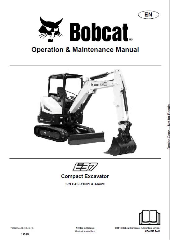 Bobcat E37 Excavator Operation & Maintenance Manual