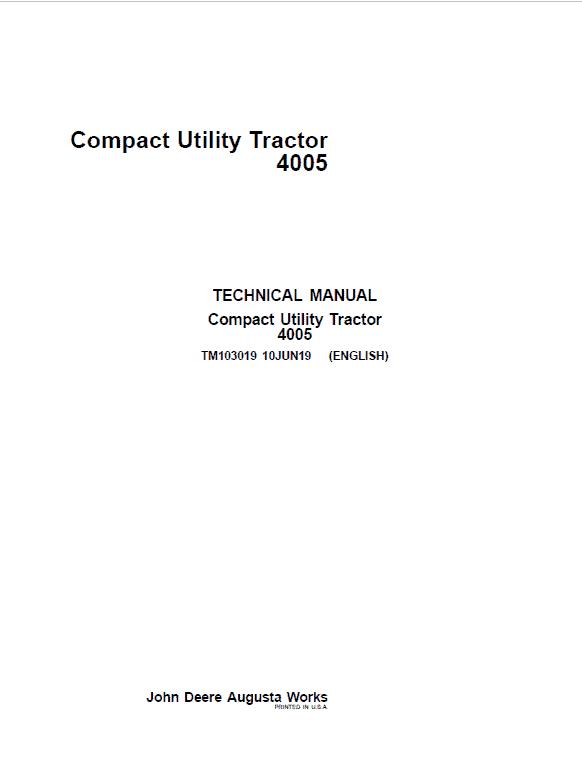 John Deere 4005 Compact Utility Tractor Repair Service Manual