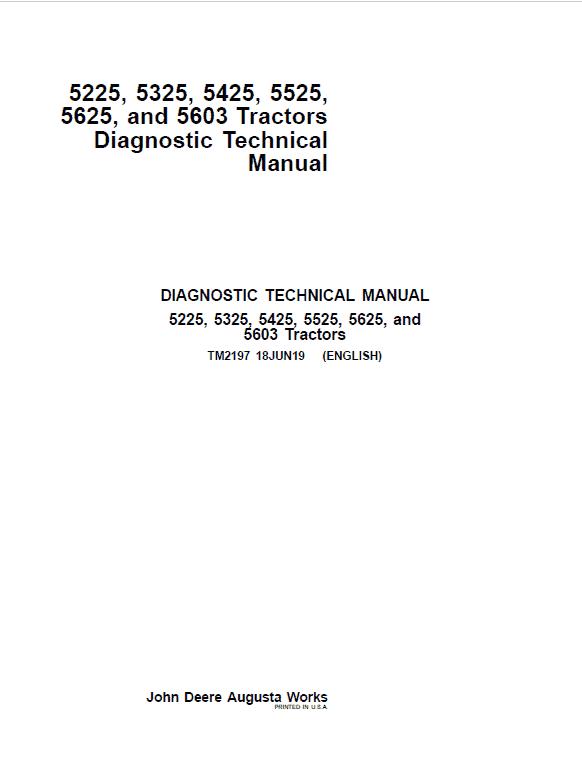 John Deere 5225, 5325, 5425, 5525, 5603, 5625 Tractors Service Repair Manual