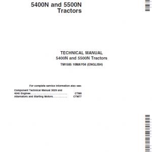 John Deere 5400N, 5500N Tractors Repair Service Manual