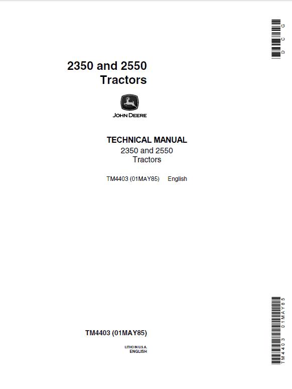 John Deere 2350, 2550 Tractors Repair Service Manual