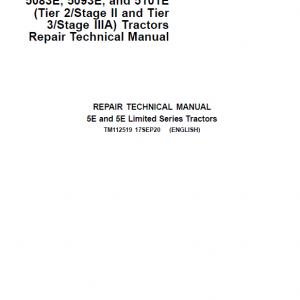 John Deere 5083E, 5093E, 5101E Tractors Repair Service Manual