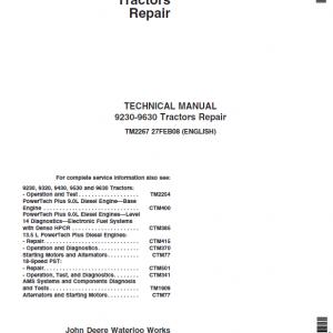 John Deere 9230, 9330, 9430, 9530, 9630 Tractors Repair Service Manual