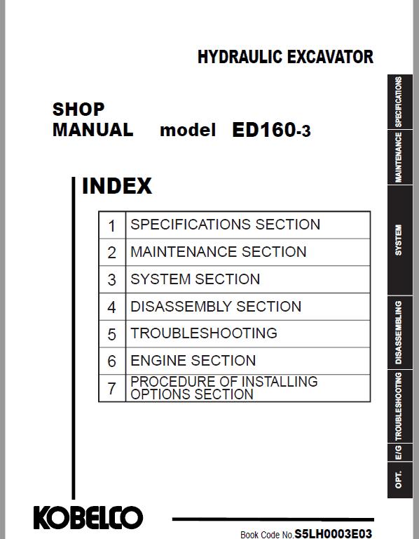 Kobelco ED160-3 Hydraulic Excavator Repair Service Manual