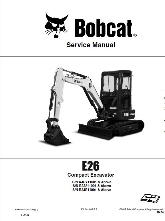 Bobcat E26 Excavator Repair Service Manual