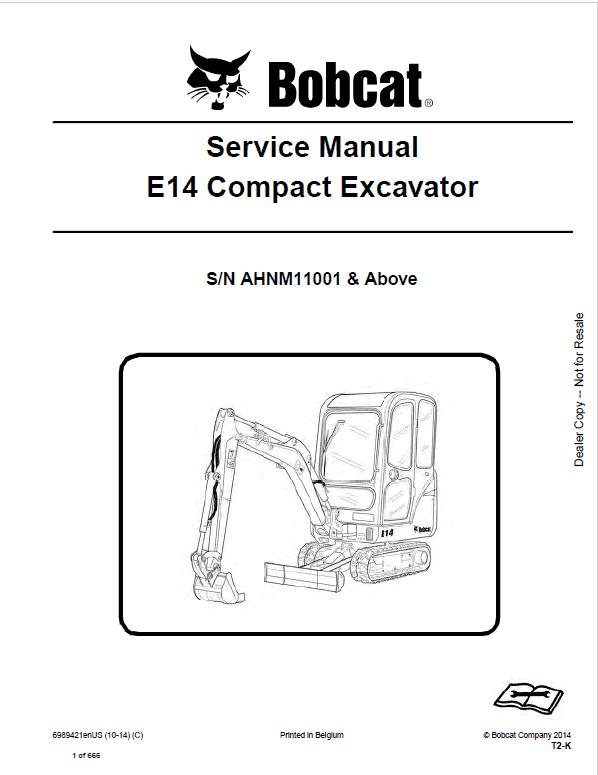 Bobcat E14 Excavator Repair Service Manual