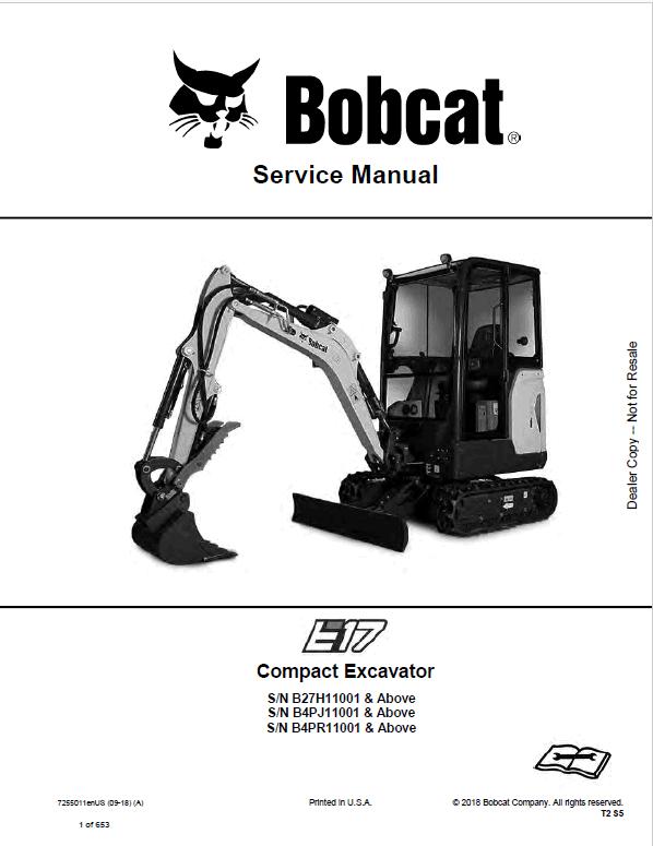 Bobcat E17 Excavator Repair Service Manual