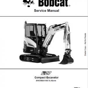 Bobcat E27 Excavator Repair Service Manual