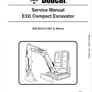 Bobcat E32i Excavator Repair Service Manual