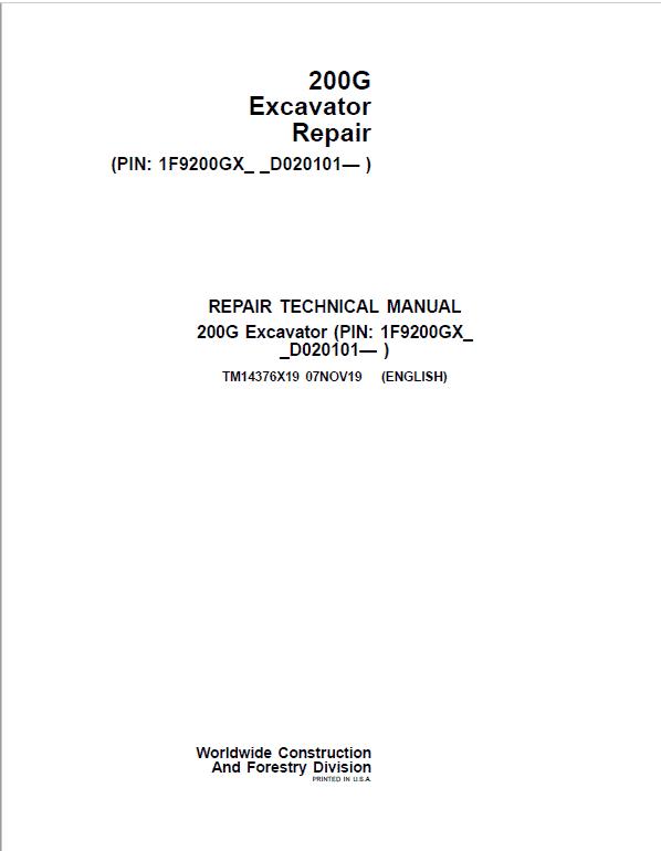 John Deere 200G Excavator Repair Service Manual (S.N after D020101 - )