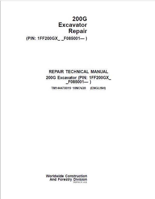 John Deere 200G Excavator Repair Service Manual (S.N after F085001 -)