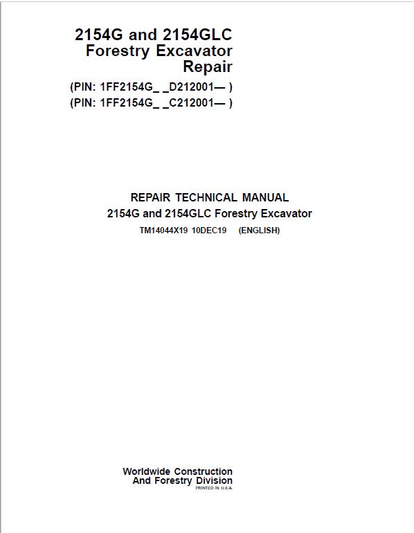 John Deere 2154G, 2154GLC Swing Excavator Repair Manual (S.N C212001 - & D212001 - )