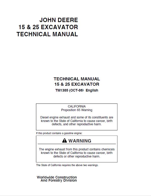 John Deere 15 and 25 Excavator Repair Service Manual