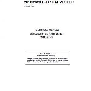 John Deere 2618, 2628 Tracked Feller Bunchers Harvester Repair Manual