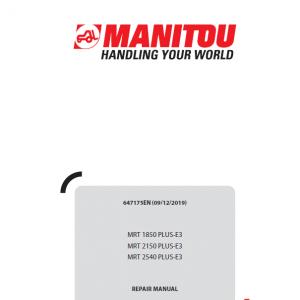 Manitou MRT 1850, 2150, 2540 Privilege Plus E3 Telehandler Repair Service Manual